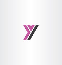 purple black letter y sign logo icon vector image vector image