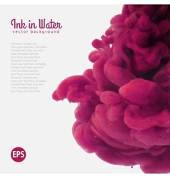 Purple watercolor ink in water template vector image vector image