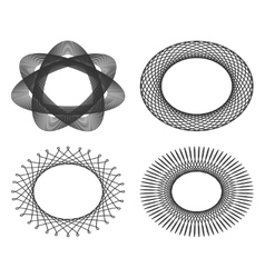 Set of oval guilloche design elements for vector image vector image