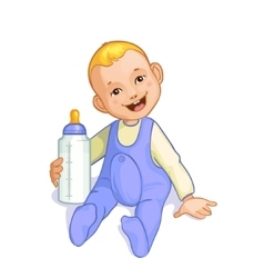 Smiling baby boy with bottle image eps10 vector image