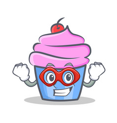 Super hero cupcake character cartoon style vector