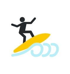 Surfing icon flat vector image vector image
