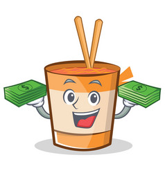With money cup noodles character cartoon vector