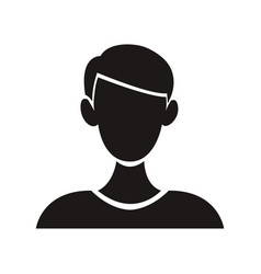 Young man character front view pictogram vector