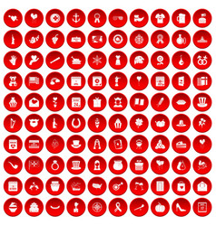 100 calendar icons set red vector