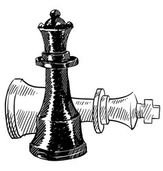 Doodle chess checkmate king queen vector