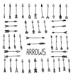 hand drawn arrow set vector image