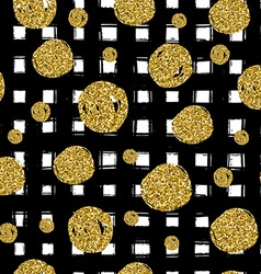 Gold circles on black hand drawn line Trendy vector image