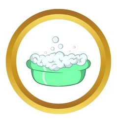 Green baby bath with foam icon vector
