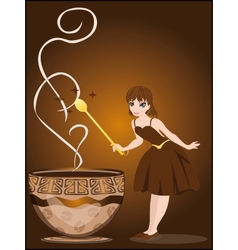 The fairy conjures with a cup of coffee vector