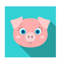 Pig muzzle icon in flat style isolated on white vector
