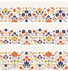 Three ornamental folk tulips horizontal seamless vector image