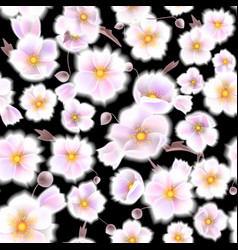 Seamless soft pattern with anemones small flowers vector