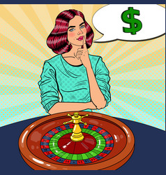 Woman behind roulette table dreaming about big win vector