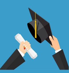 concept of education graduation hat and diploma vector image