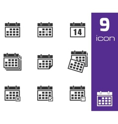 black calendar icons set vector image