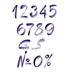 Watercolor hand written purple numbers vector
