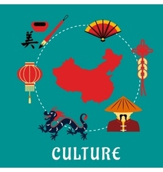 Chinese culture icons around a map vector