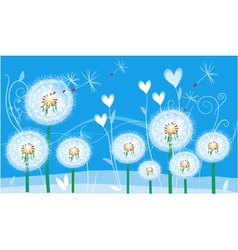 abstract floral card with dandelions vector image