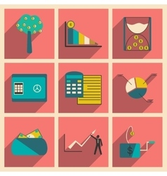 Modern collection flat icons with shadow economy vector
