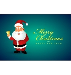 Funny santa claus character with golden bell vector
