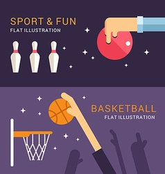 Sport and fun bowling and basketball in flat vector