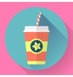 Paper coffee cup with straw flat style design - vector