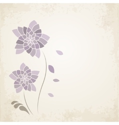 Purple flower on old paper background vector