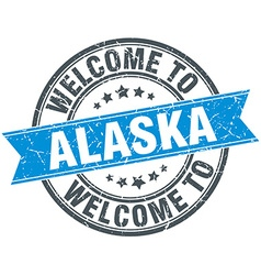 Welcome to alaska blue round vintage stamp vector