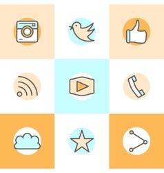 Flat line set icons designs of camera like bird vector