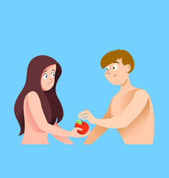 Adam and eve on blue background vector