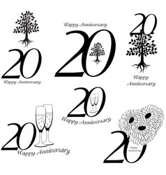 anniversary 20th signs collection vector image