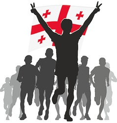 Athlete with the georgia flag at the finish vector