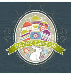 background with easter eggs and one rabbit vector image vector image