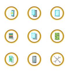 Broken phones fix icons set cartoon style vector