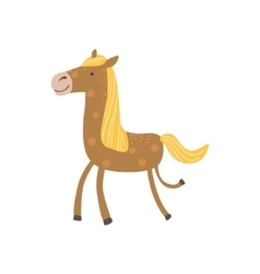 Brown Horse With Yellow Crest Walking vector image vector image