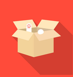 Cat in a carton box icon in flate style isolated vector