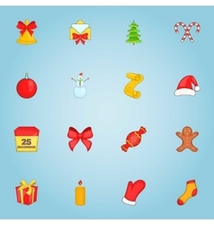 Christmas icons set cartoon style vector
