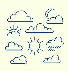 Cloud sun moon rain loutlined icon set meteo vector