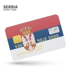 Credit card with serbia flag background for bank vector