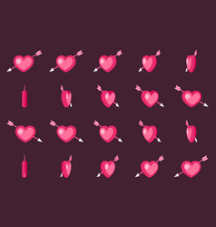 cupid arrow valentine day 3d love heart rotation vector image vector image