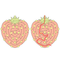 easy strawberry maze vector image