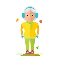 elderly woman on autumn walk vector image vector image