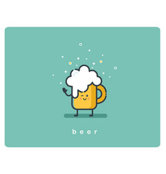 Flat icon friendly mug of beer character vector