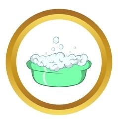 Green baby bath with foam icon vector
