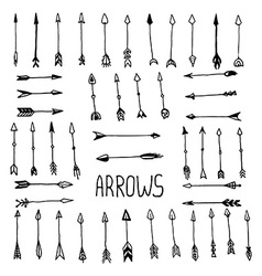 hand drawn arrow set vector image