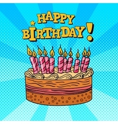 Happy birthday greeting card pop art vector