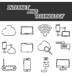 Internet and technology icon set vector