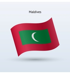 Maldives flag waving form vector image
