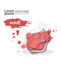 meat hand drawn watercolor food pork on white vector image